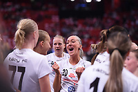 2019-04-27 | Stockholm, Sweden: Täby FC IBK (20) Madelene Westerberg during the game between KAIS Mora IF and Täby FC IBK at Ericsson Globe Arena ( Photo by: Simon Holmgren | Swe Press Photo )<br /> <br /> Keywords: Ericsson Globe Arena, Stockholm, Floorball, SM-Final, KAIS Mora IF, Täby FC IBK