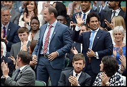 Image ©Licensed to i-Images Picture Agency. 28/06/2014, Wimbledon, London, United Kingdom. Sachin Tendulkar in the Royal box on Day 6 of the Wimbledon Tennis Championship. Picture by Andrew Parsons / i-Images