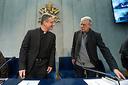 Vatican City jan 22th 2016, presentation of pope's message for World Day of Social Communications. In the picture Dario Edoardo Vigano', first Prefect of the new-established Secretariat for Communications, and Federico Lombardi, director of the Holy See Press Room