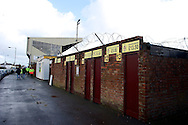 General view of the exterior of the stadium pictured ahead of the The FA Cup match at Haig Avenue, Southport<br /> Picture by Ian Wadkins/Focus Images Ltd +44 7877 568959<br /> 07/12/2014