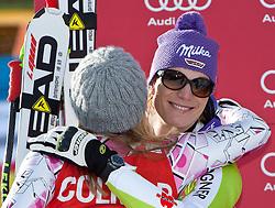 23.01.2011, Tofana, Cortina d Ampezzo, ITA, FIS World Cup Ski Alpin, Lady, Cortina, SuperG, im Bild Podium v.l. Maria Riesch (GER, #17, Platz 2) gratuliert Lindsey Vonn (USA, #18, Platz 1) // podium v.l. Maria Riesch (GER, place 2) congratulates Lindsey  Vonn (USA, place 1) during FIS Ski Worldcup ladies SuperG at pista Tofana in Cortina d Ampezzo, Italy on 23/1/2011. EXPA Pictures © 2011, PhotoCredit: EXPA/ J. Groder