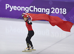 PYEONGCHANG, Feb. 17, 2018  Li Jinyu of China celebrates after finishing ladies' 1500m final of short track speed skating at 2018 PyeongChang Winter Olympic Games at Gangneung Ice Arena, Gangneung, South Korea, Feb.17, 2018. Li Jinyu claimed second place in a time of 2:25.703. (Credit Image: © Fei Maohua/Xinhua via ZUMA Wire)