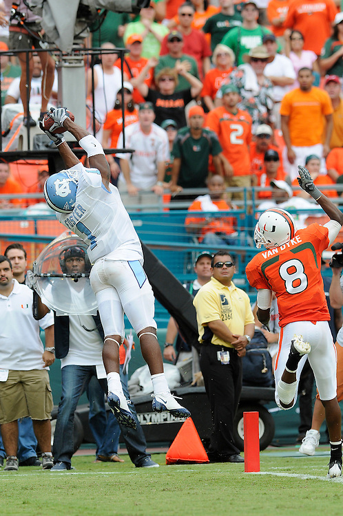Sepember 28, 2008 - Miami Gardens, FL<br /> <br /> University of Miami defensive back Demarcus Van Dyke looks on as University of North Carolina wide receiver Brooks Foster scores a touchdown during the Tar Heels 28-24 victory over the Hurricanes at Dolphin Stadium in Miami Gardens, Florida.<br /> <br /> JC Ridley/CSM
