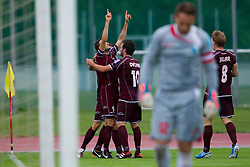 Team NK Triglav after scoring goal during football match between NK Triglav Kranj and ND Gorica, 7th Round of Prva Liga, on 26 August, 2012, in Sportni center, Kranj, Slovenia. (Photo by Grega Valancic / Sportida)