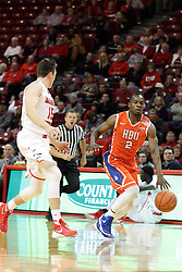 21 November 2015: Justin McCloud(15) shadows ball handler Anthony Odunsi(2). Illinois State Redbirds host the Houston Baptist Huskies at Redbird Arena in Normal Illinois (Photo by Alan Look)