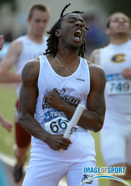 May 26, 2012; Claremont, CA, USA; Demetrius Rooks reacts after running the anchor leg on the Rowan 4 x 400m relay that won in 3:10.56 in the 2012 NCAA Division III Track & Field Championships at Claremont-Mudd-Scripps College.