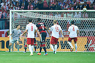 Poland's goalkeeper Wojciech Szczesny looks on the ball on the bar during the EURO 2016 qualifying match between Poland and Germany on October 11, 2014 at the National stadium in Warsaw, Poland<br /> <br /> Picture also available in RAW (NEF) or TIFF format on special request.<br /> <br /> For editorial use only. Any commercial or promotional use requires permission.<br /> <br /> Mandatory credit:<br /> Photo by © Adam Nurkiewicz / Mediasport