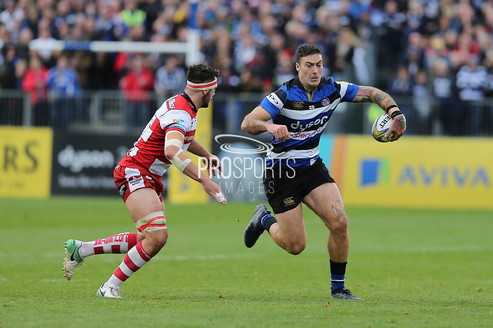 Bath wing Matt Babahan (11) running with the ball during the Aviva Premiership match between Bath Rugby and Gloucester Rugby at the Recreation Ground, Bath, United Kingdom on 29 October 2017. Photo by Gary Learmonth.