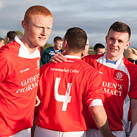 Newmarket on Fergus Alan Kelly, Shamie Lawlor and Paudie Hayes celebrating their win after the final whistle at the Clare Cup Final 2014