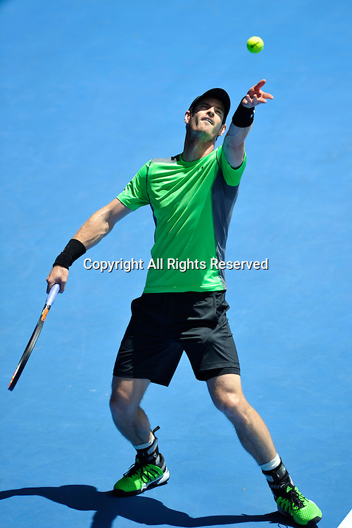 21.01.2015 Australian Open Tennis from Melbourne Park. Andy Murray of Great Britain returns a shot in his match against Marinko Matosevic of Australia on day three of the 2015 Australian Open at Melbourne Park, Melbourne, Australia.