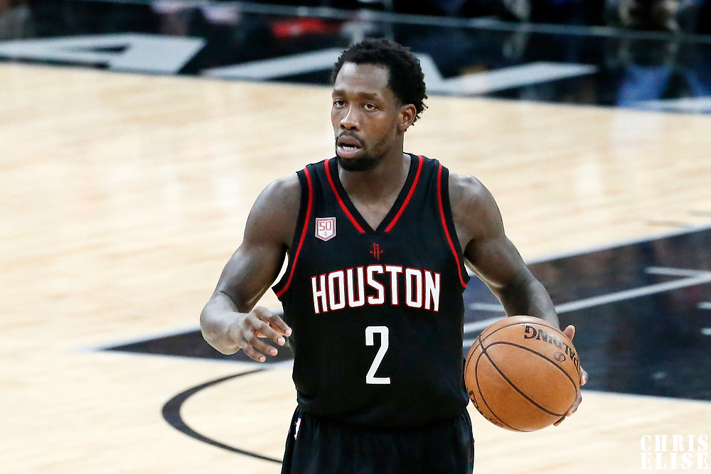 03 May 2017: Houston Rockets guard Patrick Beverley (2) brings the ball up court during the San Antonio Spurs 121-96 victory over the Houston Rockets, in game 2 of the Western Conference Semi Finals, at the AT&T Center, San Antonio, Texas, USA.