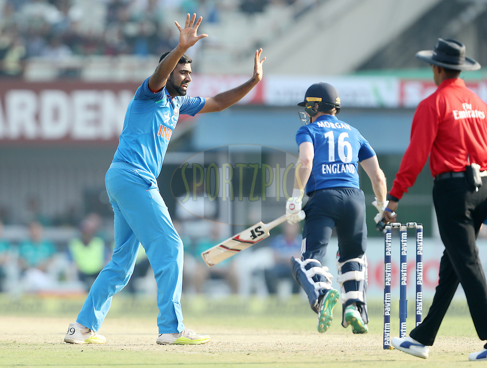 Ravichandran Ashwin of India appeals during the third One Day International (ODI) between India and England  held at Eden Gardens in Kolkata on the 22nd January 2017<br /> <br /> Photo by: Ron Gaunt/ BCCI/ SPORTZPICS