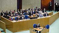 Nederland. Den Haag, 1 maart 2007. <br /> Het vierde kabinet Balkenende legt in de Tweede kamer de regeringsverklaring af. <br /> Ministers en staatssecretarissen in vak K, plenaire vergaderzaal.<br /> Foto Martijn Beekman <br /> NIET VOOR TROUW, AD, TELEGRAAF, NRC EN HET PAROOL