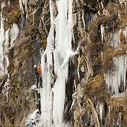 """Viðar Helgasson climbing """"Álið er málið"""" WI4 Þórólfsárgil, Fljótshlíð, Iceland."""