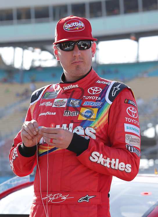 Kyle Busch before qualifying for Sunday's NASCAR Cup Series auto race on Friday, March 17, 2017, in Avondale, Ariz.  (AP Photo/Rick Scuteri)