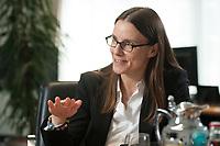 08 JUL 2015, BERLIN/GERMANY:<br /> Katrin Suder, Staatssekretaerin im Bundesministerium der Verteidigung, waehrend einem Interview, in Ihrem Buero, Bundesministerium der Verteidigung<br /> IMAGE: 20150708-01-027<br /> KEYWORDS: BMVg