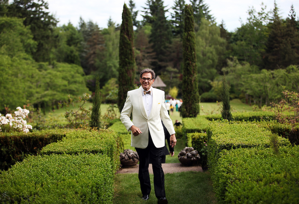 F. Timothy Nagler gets ready to walk down the aisle toward Nancy Coffey at Duckridge Farm in Portland, Ore., Saturday, June 2, 2012...The bride, 66, is a Senior Vice President with The Corcoran Group in New York.  She graduated from Stanford and received a M.S. in Engineering from Stanford. She is a daughter of Joan Moore of Montecito, Ca., and the late Arthur J. Coffey, a custom home builder and developer in Palm Springs, Ca., where she grew up...The bridegroom, 65, is the president and owner of Jungclaus-Campbell Co., Inc., an Indianapolis industrial general contractor founded in 1875.  He graduated from Carleton College and received a M.A. in English from the University of Virginia.He is the son of Ruth E. and Louis G. Nagler of Amery, Wisconsin.  His father was a lawyer, his mother a homemaker.