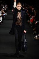 Alexandra Elizabeth (The Society) walks the runway wearing Altuzarra Fall 2015 during Mercedes-Benz Fashion Week in New York on February 14, 2015