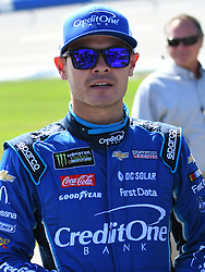 October 14, 2018 - Talladega, AL, U.S. - TALLADEGA, AL - OCTOBER 14: Kyle Larson, Chip Ganassi Racing, Chevrolet Camaro Credit One Bank (42) on pit road before the 1000Bulbs.com 500 on October 14, 2018, at Talladega Superspeedway in Tallageda, AL.(Photo by Jeffrey Vest/Icon Sportswire) (Credit Image: © Jeffrey Vest/Icon SMI via ZUMA Press)