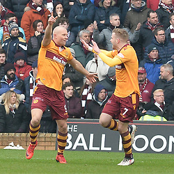 Curtis Main (Motherwell) celebrates opening the scoring during the Scottish Cup quarter final between Motherwell and Hearts at Fir Park.<br /> <br /> (c) Dave Johnston | sportPix.org.uk
