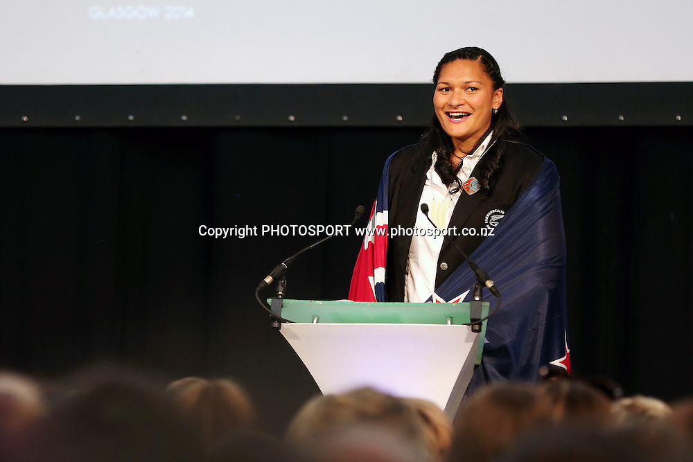 Valerie Adams is named as the New Zealand Flag Bearer for the 2014 Glasgow Commonwealth Games. The Kelvingrove Art Gallery and Museum, Glasgow, Scotland. Tuesday 22nd July 2014. Photo: Anthony Au-Yeung / photosport.co.nz