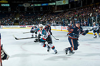 KELOWNA, CANADA - MARCH 31: Calvin Thurkauf #27 of the Kelowna Rockets skates beside Lane Bauer #25 of the Kamloops Blazers on March 31, 2017 at Prospera Place in Kelowna, British Columbia, Canada.  (Photo by Marissa Baecker/Shoot the Breeze)  *** Local Caption ***
