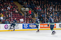 KELOWNA, CANADA - JANUARY 5: Austin Strand #2, Turner Ottenbreit #4 and Nikita Malukhin #15 of the Seattle Thunderbirds celebrate a goal against the Kelowna Rockets on January 5, 2017 at Prospera Place in Kelowna, British Columbia, Canada.  (Photo by Marissa Baecker/Shoot the Breeze)  *** Local Caption ***