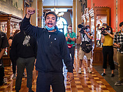 12 JUNE 2020 - DES MOINES, IOWA: MATTHEW BRUCE, a member of Black Lives Matter, leads a protest in front of the Governor's Reception Room in the Iowa State Capitol. About 75 activists from Black Lives Matter came to the Iowa State Capitol in Des Moines Friday to talk to Iowa Governor Kim Reynolds. They've been trying to meet with Gov. Reynolds all week. She made time for them Friday and met with 5 representatives of the organization without any media in the room. They wanted to talk to her about police violence against African-Americans and racial disparities in Iowa's justice system. While the 5 met with the Governor, the remaining activists picketed the hall in front of her office and chanted.     PHOTO BY JACK KURTZ