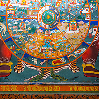 A traditional Buddhist wall painting in Bhutan