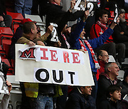 Charlton protest Miere out during the Sky Bet Championship match between Charlton Athletic and Ipswich Town at The Valley, London, England on 28 November 2015. Photo by Matthew Redman.