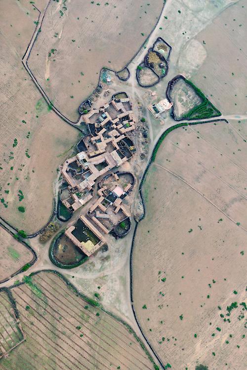 Aerial view of a rural village near Marrakech, Morocco.