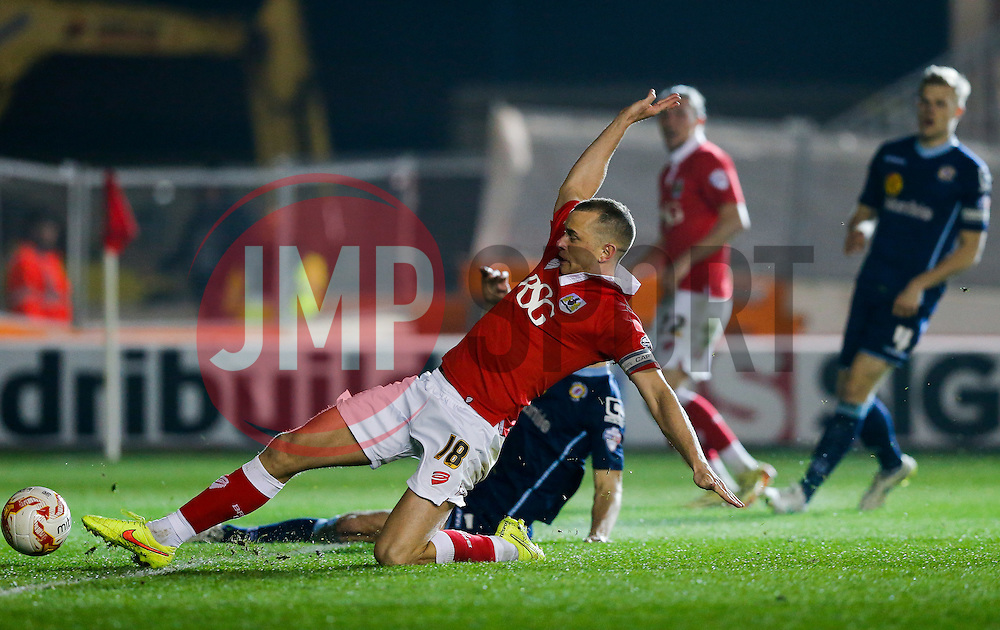 Aaron Wilbraham of Bristol City stretches to make a shot - Photo mandatory by-line: Rogan Thomson/JMP - 07966 386802 - 17/03/2015 - SPORT - FOOTBALL - Bristol, England - Ashton Gate Stadium - Bristol City v Crewe Alexandra - Sky Bet League 1.