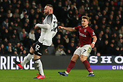 Northampton Town striker Sam Hoskins shoots at goal during the The FA Cup match between Derby County and Northampton Town at the Pride Park, Derby, England on 4 February 2020.