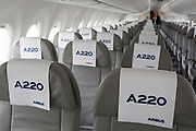 Interior seating of the Airbus A220-300 at the Farnborough Airshow, on 18th July 2018, in Farnborough, England.