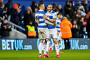 Queens Park Rangers defender Geoff Cameron (5) and Queens Park Rangers defender Grant Hall (4) celebrate at full time during the EFL Sky Bet Championship match between Queens Park Rangers and Stoke City at the Kiyan Prince Foundation Stadium, London, England on 15 February 2020.