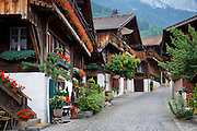 Tourists' favourite Brunngasse cobbled street with 18th Century architecture, at Brienz in the Bernese Oberland, Switzerland