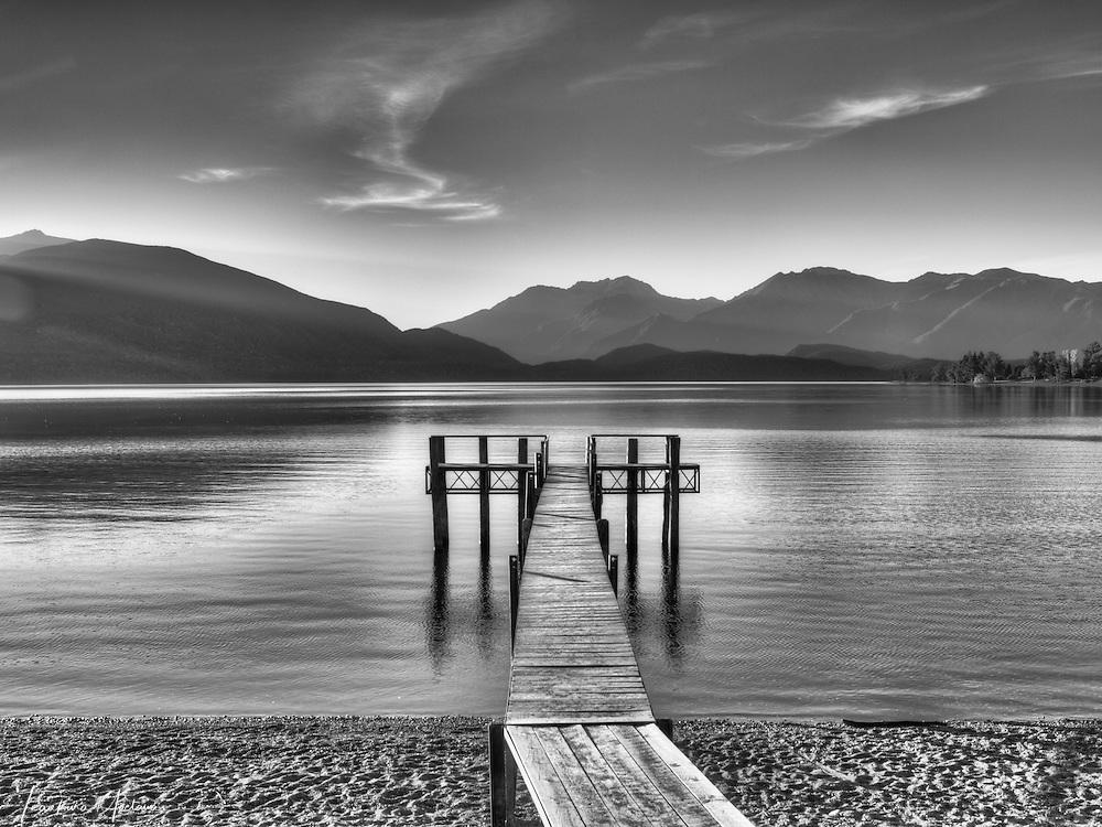 """GOLDEN"" Lake Te Anau South Island New Zealand. Te Anau is the gateway to Fiordland National Park."