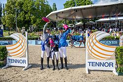 BEERBAUM, Ludger (GER), G. WALDMAN, Dani (ISR), AHLMANN, Christian (GER), Take A Chance On Me Z<br /> Berlin - Global Jumping Berlin 2019<br /> Siegerehrung - Sektdusche<br /> CSI5* - LONGINES GLOBAL CHAMPIONS TOUR Grand Prix of Berlin<br /> presented by TENNOR<br /> Wertungsprüfung zur Longines Global Champions Tour 2019 <br /> Springprüfung mit Stechen, international<br /> 27. Juli 2019<br /> © www.sportfotos-lafrentz.de/Stefan Lafrentz