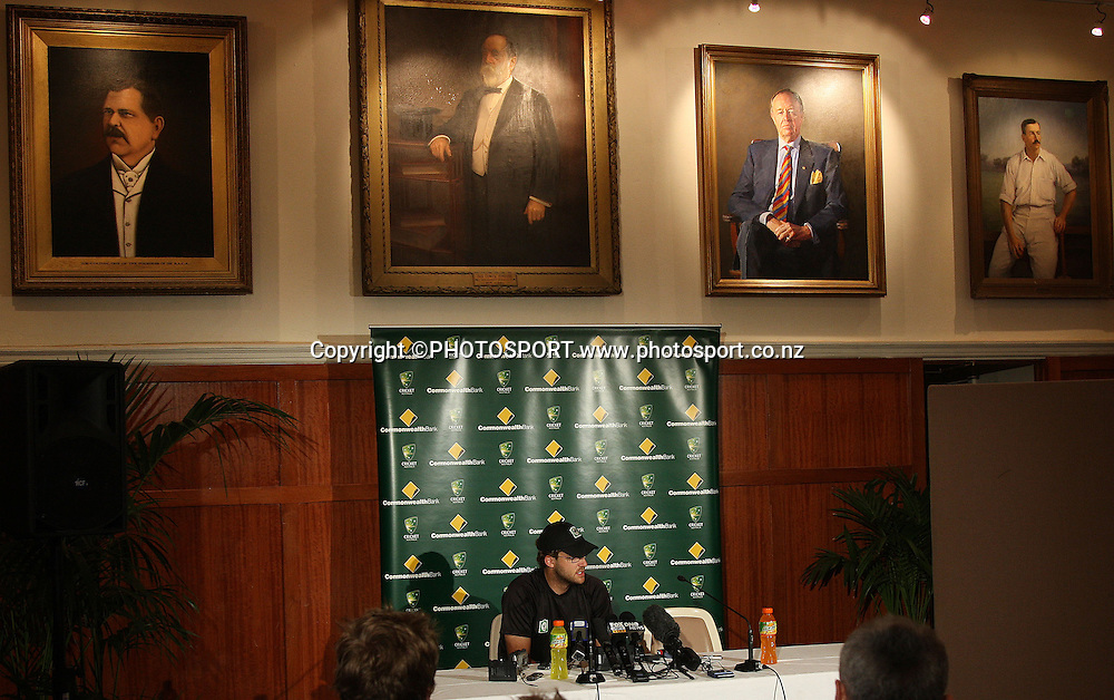 New Zealand captain Daniel Vettori at a press conference in the Don Bradman room ahead of the 1st Chappell Hadlee Trophy matches.<br />