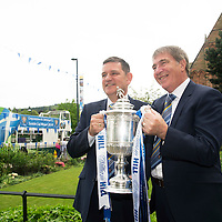 St Johnstone v Dundee United....18.05.14   William Hill Scottish Cup Final<br /> St Johnstone Chairman Steve Brown pictured with his father and former Chairman Geoff Brown and the Scottish Cupafter  the open top bus parade<br /> Picture by Graeme Hart.<br /> Copyright Perthshire Picture Agency<br /> Tel: 01738 623350  Mobile: 07990 594431