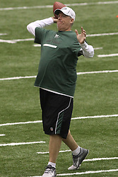 June 12, 2012; Florham Park, NJ, USA; New York Jets head coach Rex Ryan throws a pass during New York Jets Minicamp at the Atlantic Health Training Center.