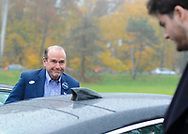 Scott Wallace, the Democratic congressional candidate in the first district leaves after voting with his son Robert Wallace (right) Tuesday, November 06, 2018 at Buckingham Township Building in Buckingham. [WILLIAM THOMAS CAIN / PHOTOJOURNALIST]