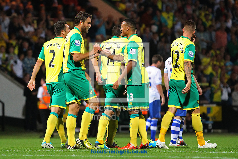 Picture by Paul Chesterton/Focus Images Ltd +44 7904 640267<br /> 27/08/2013<br /> Johan Elmander of Norwich celebrates scoring his side's 3rd goal during the Capital One Cup match at Carrow Road, Norwich.