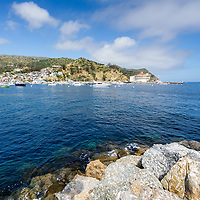 Catalina Island Avalon Harbor photo with the Catalina Casino and breakwall rocks. Beautiful Santa Catalina Island is a popular travel destination off the Southern California coast. Photo is high resolution. Copyright ⓒ 2017 Paul Velgos with All Rights Reserved.
