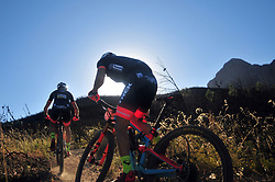 WELLINGTON SOUTH AFRICA - MARCH 23: Riders from team Trek Selle san Marco during stage five's 39km time trial on March 23, 2018 in Wellington, South Africa. Mountain bikers gather from around the world to compete in the 2018 ABSA Cape Epic, racing 8 days and 658km across the Western Cape with an accumulated 13 530m of climbing ascent, often referred to as the 'untamed race' the Cape Epic is said to be the toughest mountain bike event in the world. (Photo by Dino Lloyd)