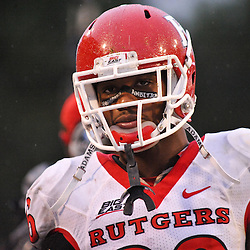 Sep 26, 2009; College Park, MD, USA; Rutgers cornerback Joe Lefeged (26) during Rutgers' 34-13 victory over Maryland in NCAA college football at Byrd Stadium.