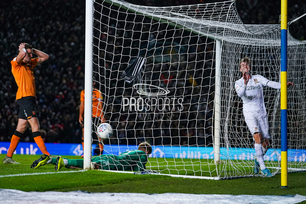 Leeds United forward Patrick Bamford (9) reacts to Leeds United forward Helder Costa (17) forces a Hull City defender Jordy de Wijs (4) own goal to make the score 1-0 during the EFL Sky Bet Championship match between Leeds United and Hull City at Elland Road, Leeds, England on 10 December 2019.