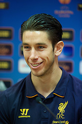 LIVERPOOL, ENGLAND - Wednesday, October 24, 2012: Liverpool's goalkeeper Brad Jones during a press conference at Anfield ahead of the UEFA Europa League Group A match against FC Anji Makhachkala. (Pic by David Rawcliffe/Propaganda)