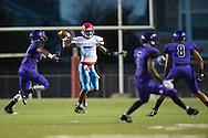 T'Marvieun Johnson (3) of the Carter Cowboys drops back to pass against the Lincoln Tigers during a high school football game at Forester Stadium in Dallas, Texas on September 18, 2015. (Cooper Neill/Special Contributor)