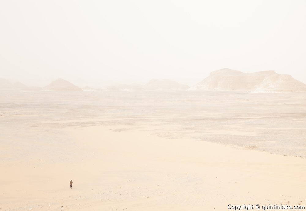 Mahmood, A Bedouin guide, guides us across the White Desert, Egypt